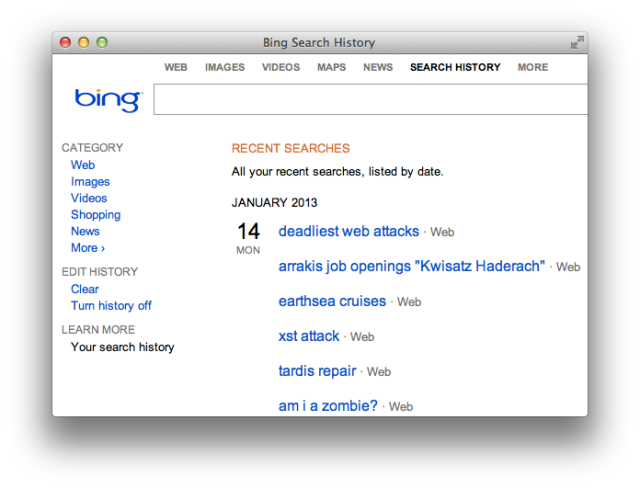 Bing Search History CSRF