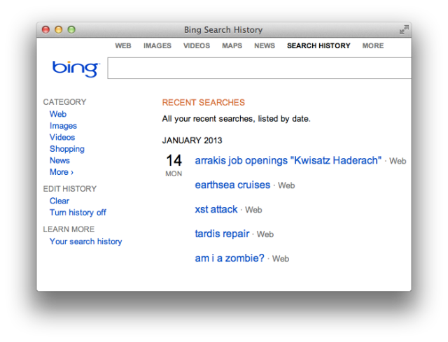 Bing Search History