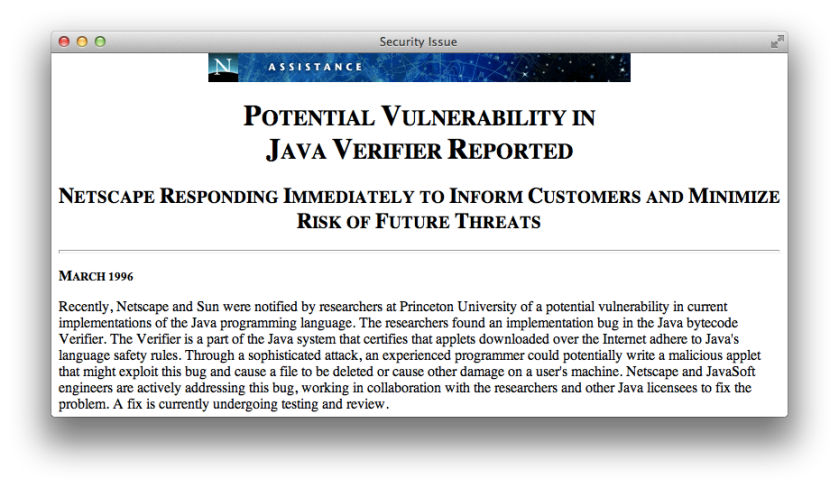March 1996 Java Bytecode Vulnerability